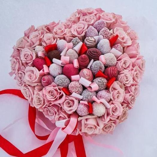 Премиум сердце розы