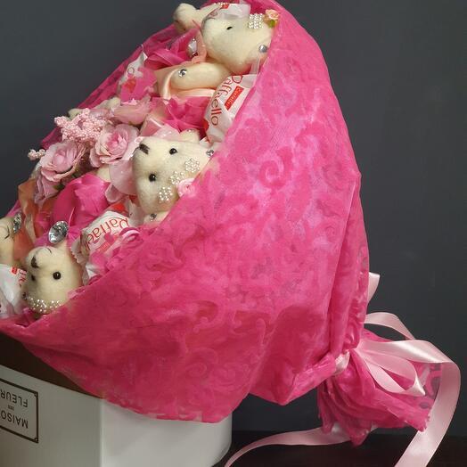 Букет мишки с рафаэлой