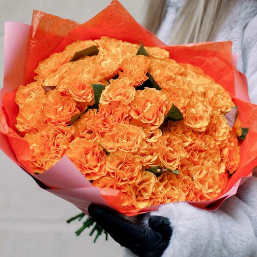 Букет из 51 оранжевой розы (Россия) 35 см