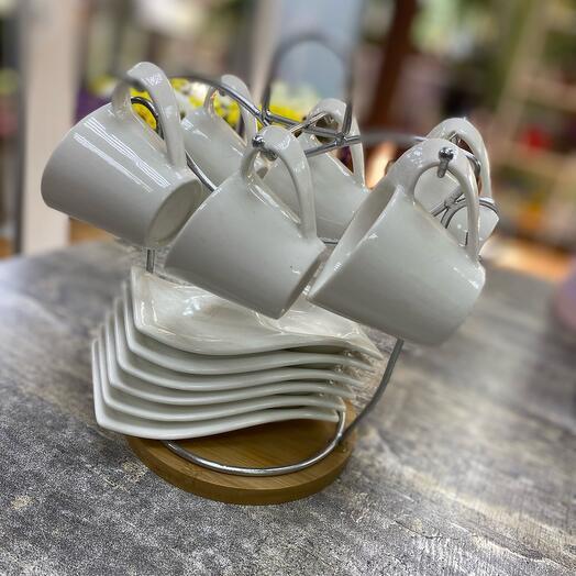 """Сервиз кофейный """"Эстет"""", 12 предметов: 6 чашек 50 мл (7,5×5,5×5 см), 6 блюдец (12×7×2 см), на металлической подставке"""