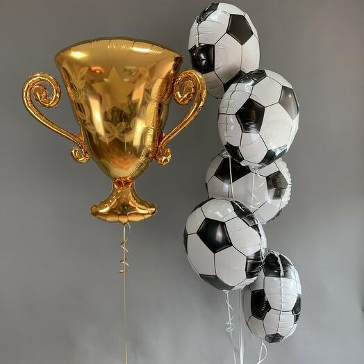 Шар Кубок и фонтан фольгированных шаров – мячей