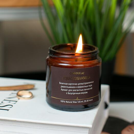 Аромасвечи в янтарной банке Табак и Ваниль / TOBACCO   VANILLA , 120 мл, Свеча ароматическая /свечи CANDLE ME