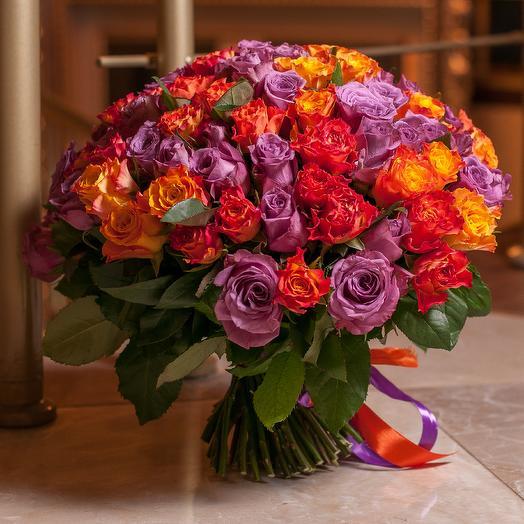 """101 роза """"Маскарад"""": букеты цветов на заказ Flowwow"""
