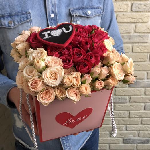 Коробочка «I L U»: букеты цветов на заказ Flowwow