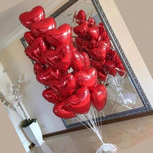 19 сердец гелиевые шары: букеты цветов на заказ Flowwow