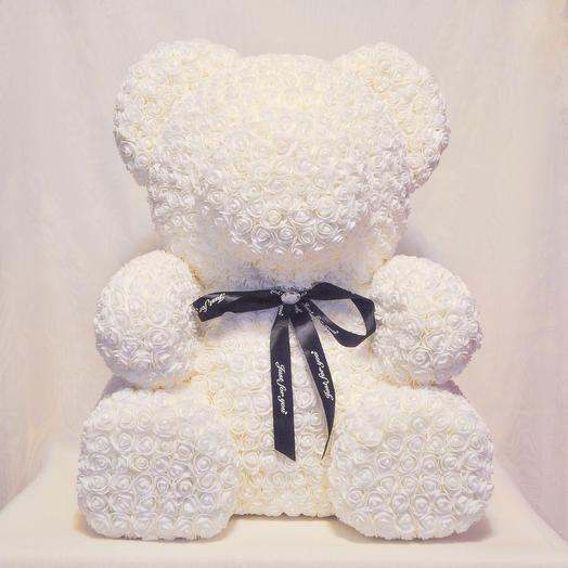 Мишка из роз RozaRose Белый- 70 см: букеты цветов на заказ Flowwow