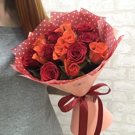 Букет 15 роз - летний закат: букеты цветов на заказ Flowwow