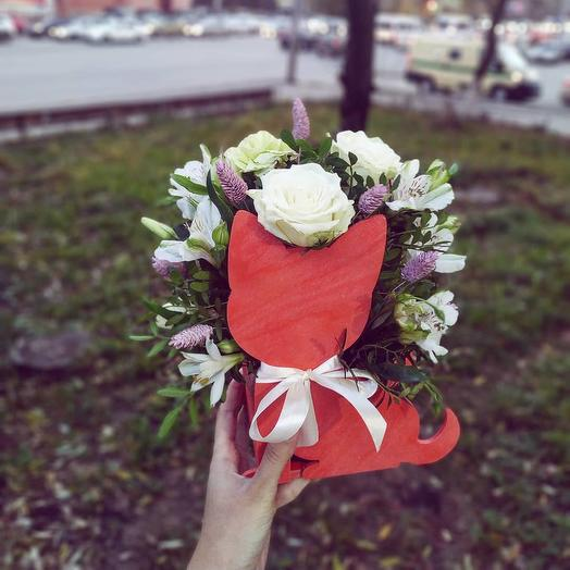 """Цветочная композиция """"Мяу"""": букеты цветов на заказ Flowwow"""