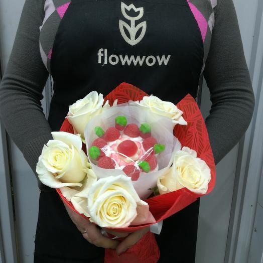 Мармеладный букет с розой: букеты цветов на заказ Flowwow