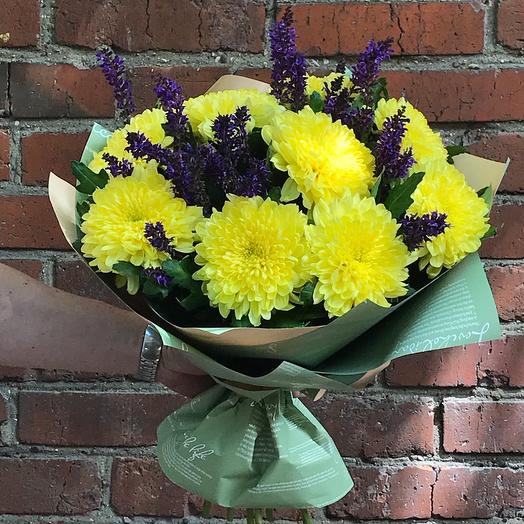 Букет из хризантем с шалфеем: букеты цветов на заказ Flowwow
