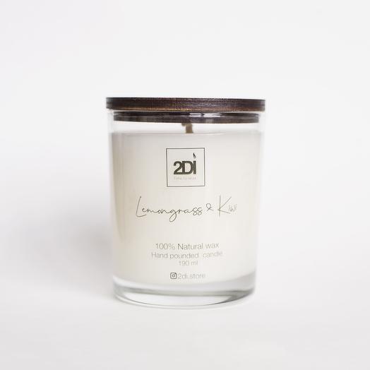 Натуральная аромасвеча ручной работы 190 мл, хлопковый фитиль - Lemongrass Kiwi, Лемонграсс и киви