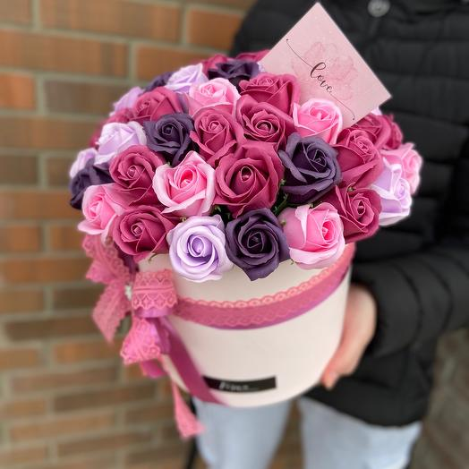 51 мыльная роза в шляпной коробке