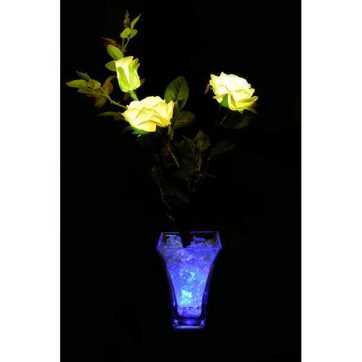 Светодиодные цветы Розы Белые (син) 3 цветка