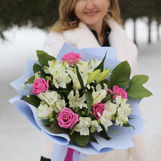 Букет Роз, Лилий и Альстромерий