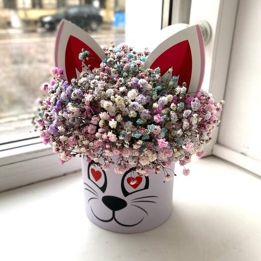 Цветы в коробке «Влюбленный котик», размер XS