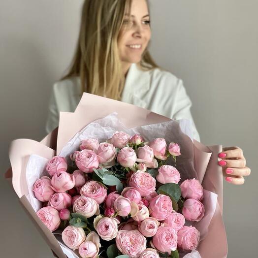 Монобукет Пионовидных Роз «Mansfield park» (9шт)