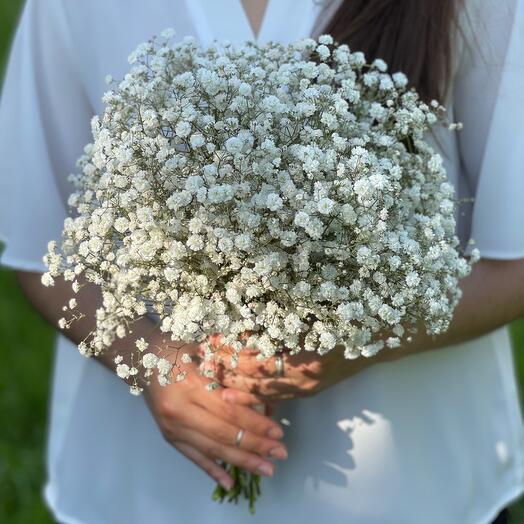 Свадебный букет «Моно гипсофилы»
