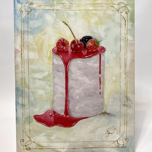 """Картина """"Пирожное с ягодами"""" 30*40 см. масло, холст"""