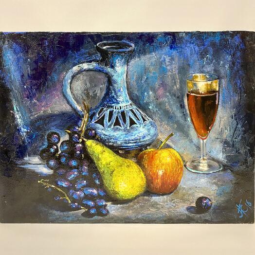 """Картина """"Лампа, фрукты"""" 40*30 см. масло, холст"""