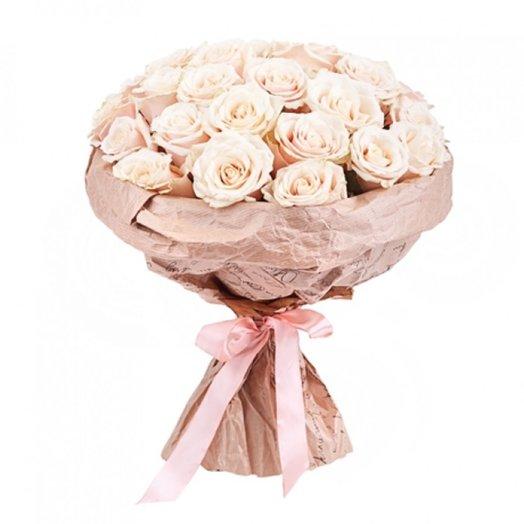 Букет из 25 кремовых роз: букеты цветов на заказ Flowwow