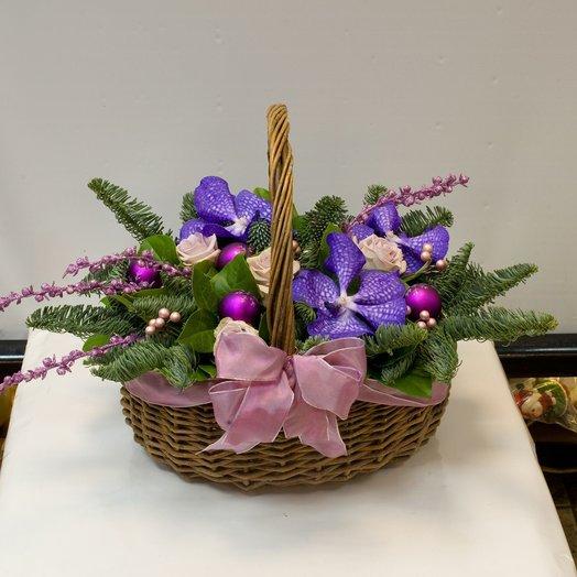 Новогодняя композиция Зимняя орхидея: букеты цветов на заказ Flowwow