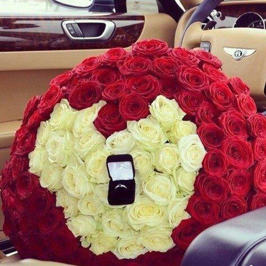 101 роза! Сердце!: букеты цветов на заказ Flowwow