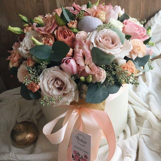 Шляпная коробка нежная: букеты цветов на заказ Flowwow