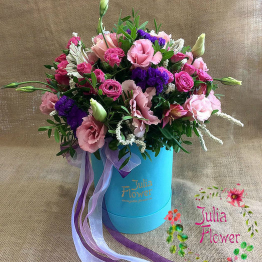 "Коробка с цветами ""Box Blue"": букеты цветов на заказ Flowwow"
