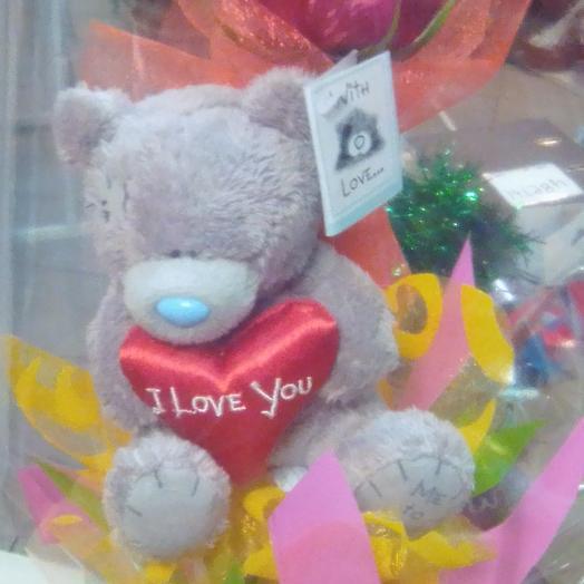 Мишка с розой: букеты цветов на заказ Flowwow