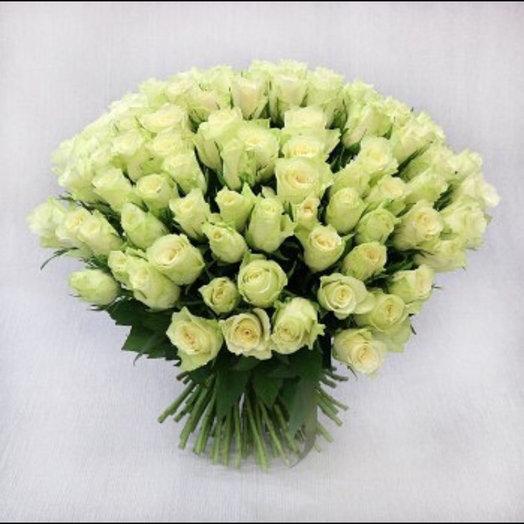 75 белых роз : букеты цветов на заказ Flowwow