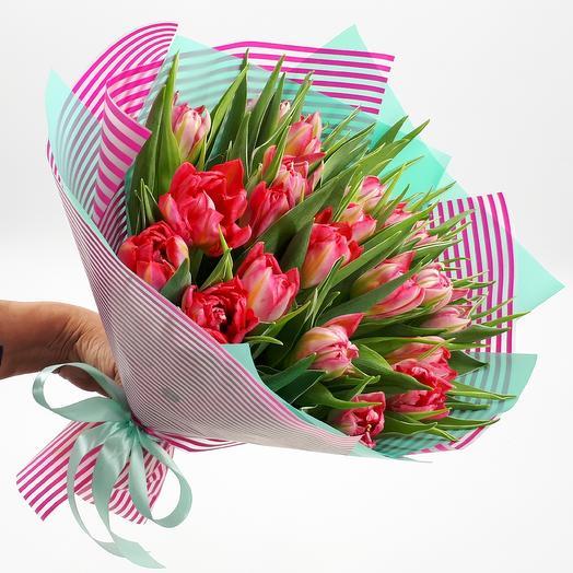 25 пионовидных тюльпанов: букеты цветов на заказ Flowwow