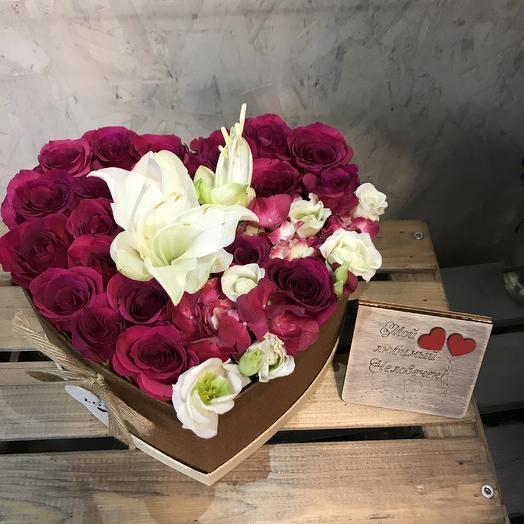 Стильная коробочка сердце: букеты цветов на заказ Flowwow