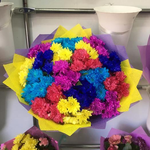 Разноцветные кустовые хризантемы: букеты цветов на заказ Flowwow