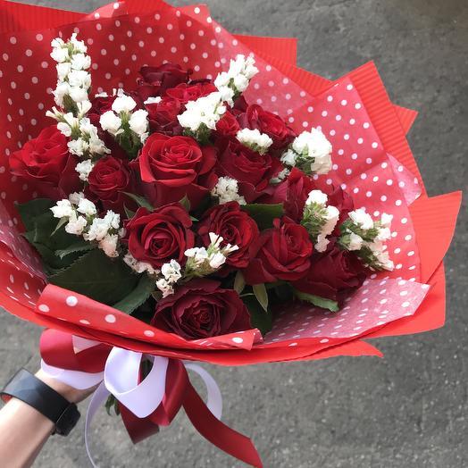 Клубничный десерт! Букет 19роз: букеты цветов на заказ Flowwow