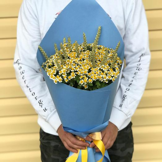 Букет ромашек с пшеницей. N572: букеты цветов на заказ Flowwow