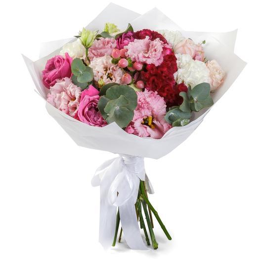 Европейский букет в белом крафте: букеты цветов на заказ Flowwow
