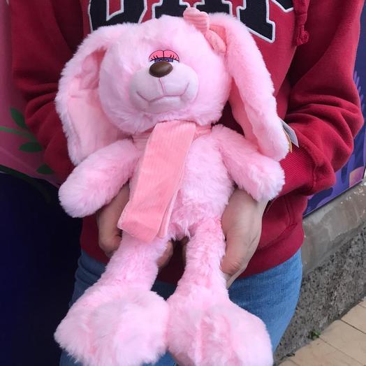 Мягкая игрушка розовый кролик