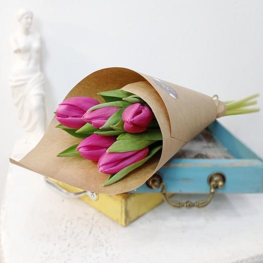 Пять розовых тюлпана 50 см