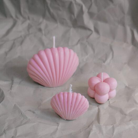 Малая розовая свеча-ракушка Shell