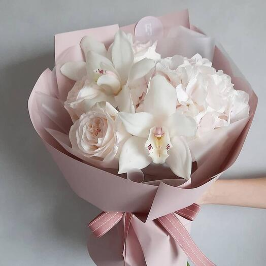 Delicate Orchid , hydrangea, and white roses