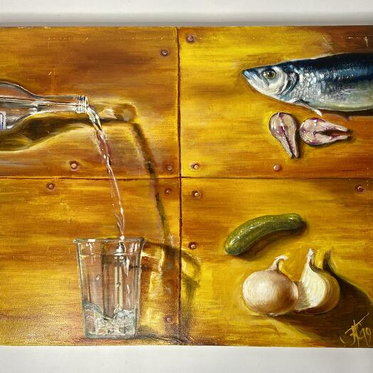 "Картина ""Водка-Селедка-огурчик"" 60*50 см. масло, холст"