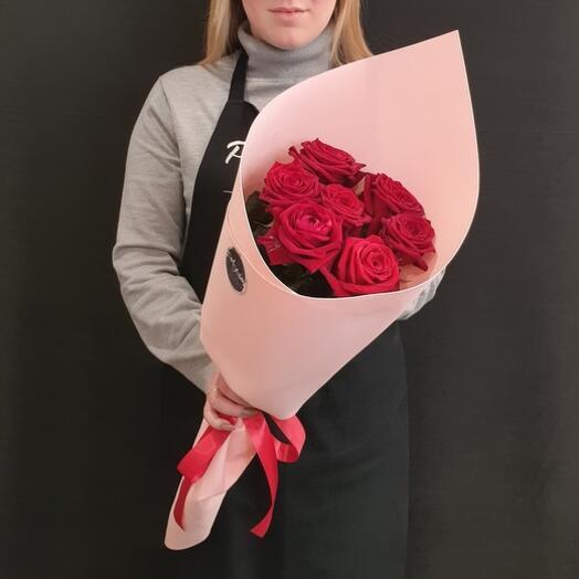 """Букет """"7 роз с крупным бутоном"""" 60 см"""
