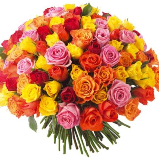 51 роза 60 см цвет микс: букеты цветов на заказ Flowwow
