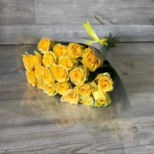 Букет из 21 желтой голландской розы 60 см: букеты цветов на заказ Flowwow