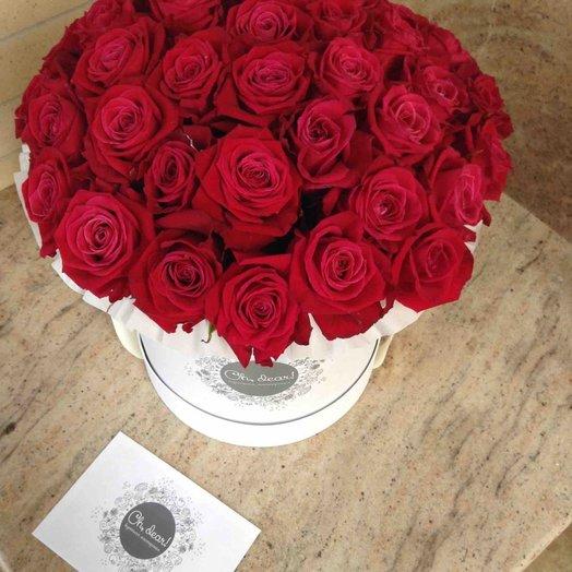 Букет из малиновых роз в шляпной коробке: букеты цветов на заказ Flowwow