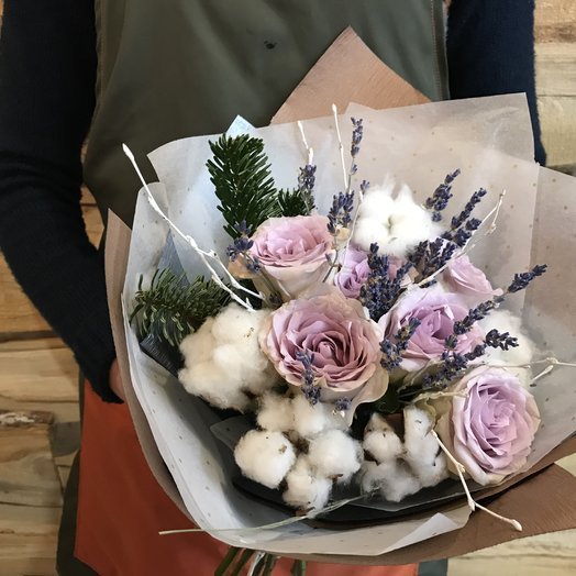 Букет с хлопком: букеты цветов на заказ Flowwow