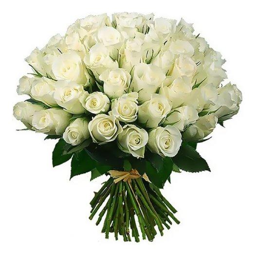 55 роз белых 70 см