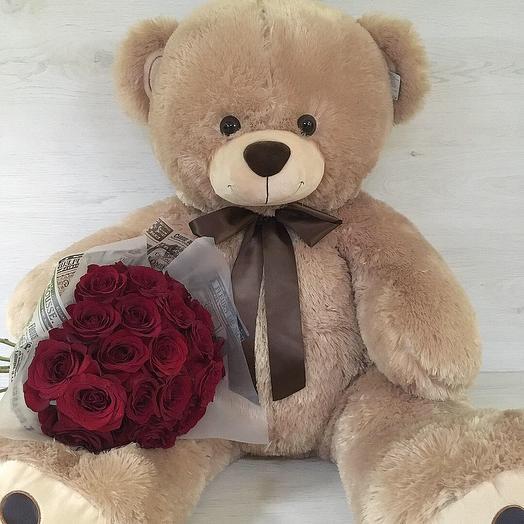 Медведь+Цветы: букеты цветов на заказ Flowwow
