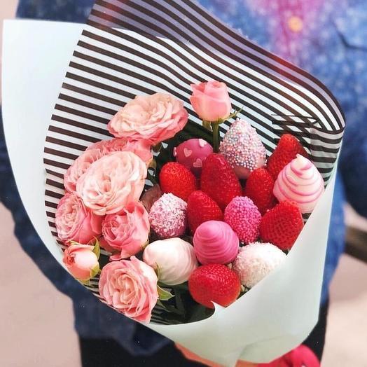 """Клубничный букет """" Good morning """": букеты цветов на заказ Flowwow"""