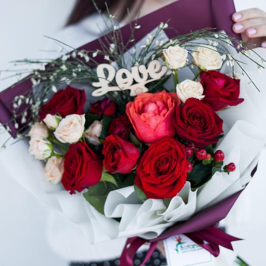 Букет из ассорти роз «Нежное сердце»